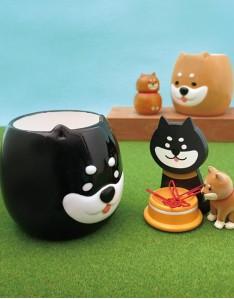【日本DECOLE】萌臉黑柴犬陶瓷馬克杯